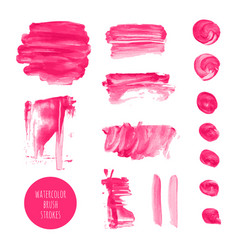 pink watercolor dry brush stroke texture kit vector image vector image