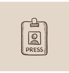 Press pass ID card sketch icon vector image vector image