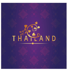 Thailand bodhi leaves thai design purple backgroun vector