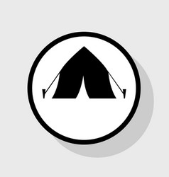 Tourist tent sign flat black icon in vector