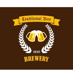 Traditional beer emblem or label vector