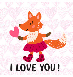 valentine s day greeting card with fox vector image