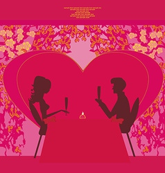 Young couple silhouettes flirt and drink champagne vector