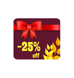 -25 off card with ribbon on vector