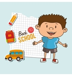 Kid back to school on notebook paper isolated icon vector