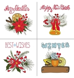 Christmas greeting cards setnew year doodles vector