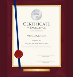 Elegant portrait certificate template excellence vector