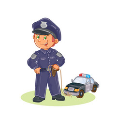 icon of small child policeman and his vector image