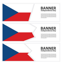 Czech republic flag banners collection vector