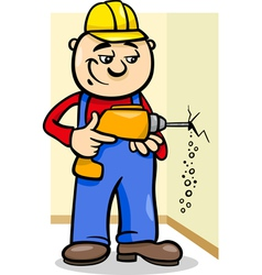 worker with drill cartoon vector image