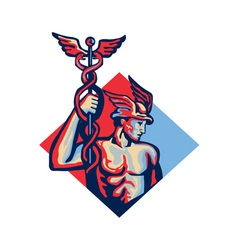Mercury holding caduceus staff retro vector