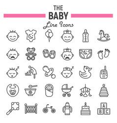 Baby line icon set kid symbols collection vector