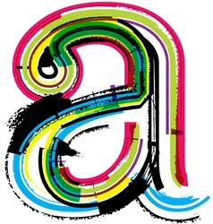 Grunge colorful font letter a vector