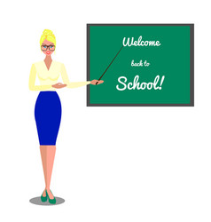 Teacher near blackboard welcome back to school vector