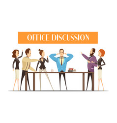 Office discussion cartoon style vector