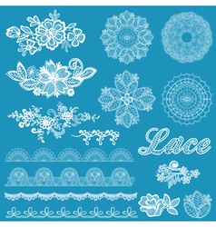 Set of lace ribbons flowers vector image