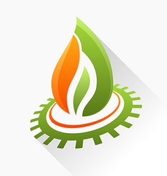 symbol fire with gear Green and orange flame glass vector image