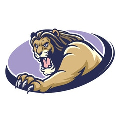 Lion mascot scratching vector
