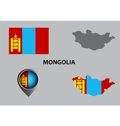 Map of mongolia and symbol vector