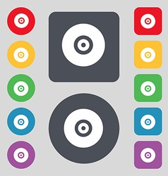 Cd or dvd icon sign a set of 12 colored buttons vector