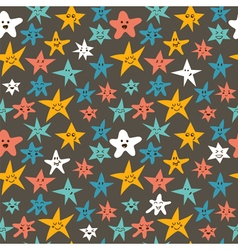 Seamless pattern with cute smiley little stars vector