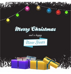 Christmas background with gift boxes and text vector