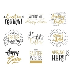 Easter wishes overlays lettering labels design vector