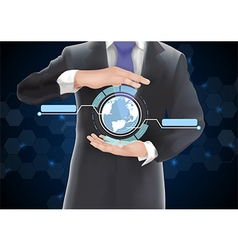 Businessman with globe vector