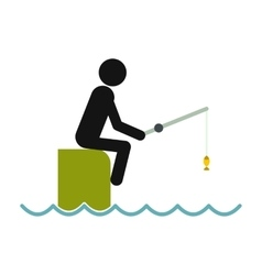 Fisherman sitting on pier with rod icon vector image
