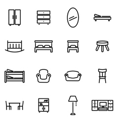 Thin line icons - furniture vector