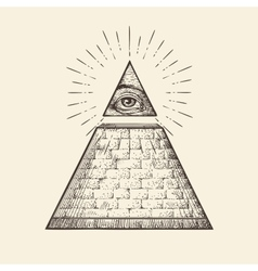 All seeing eye pyramid symbol new world order vector