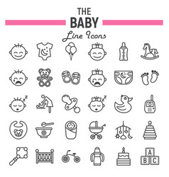 baby line icon set kid symbols collection vector image vector image
