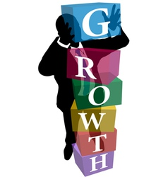 Business person stack up Growth cubes vector image vector image