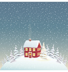 Christmas cozy house vector image