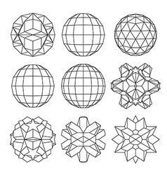 Collection of 9 black and white complex vector