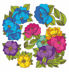 Colorful flowers hand drawing set vector