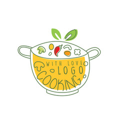Culinary logo design with pan fresh vegetables vector