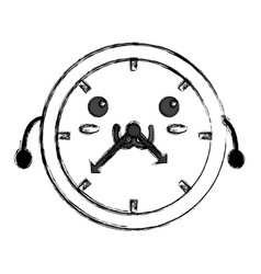Cute wall clock kawaii vector
