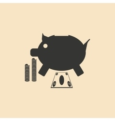 Flat in black white piggy bank and the dollar vector image vector image