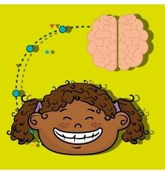Girl cartoon brain idea vector