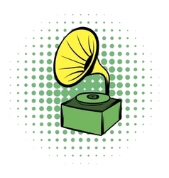 Gramophone comics icon vector