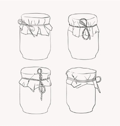 Hand drawn jars vector image