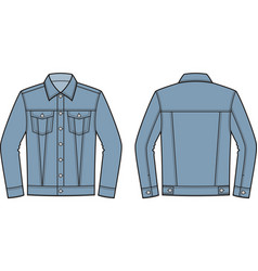 jean jacket front and back vector image