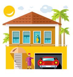 Luxury house flat style colorful cartoon vector