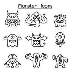 Monster icon set in thin line style vector