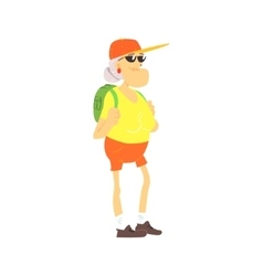Old lady with backpack vector