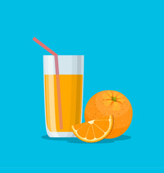 orange juice in a glass vitamins for health vector image vector image