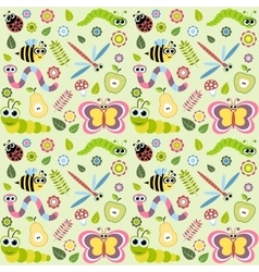Pattern with cartoon insects vector image vector image