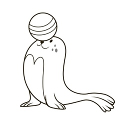 Seal playing with a ball vector image