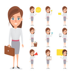 Set of business woman character in occupation vector